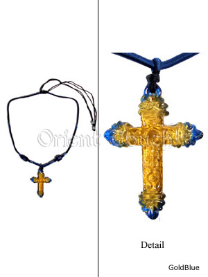 Colored Glaze Necklace - Latin Cross